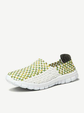 Men Women Lover White Color Match Handmade Knitting Slip On Flat Outdoor Sport Shoes
