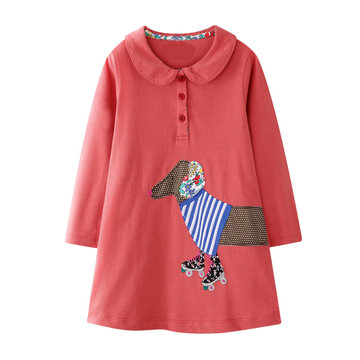 Girls Puppy Knitting Embroidery Dress For 1-9Y