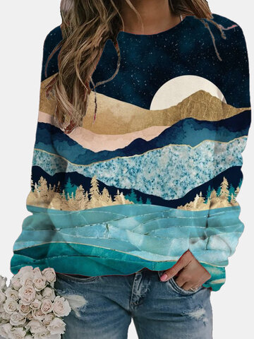 Landscape Printed Long Sleeve O-neck Blouse
