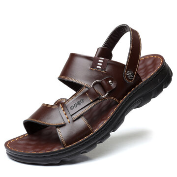 Men Leather Soft Casual Beach Sandals
