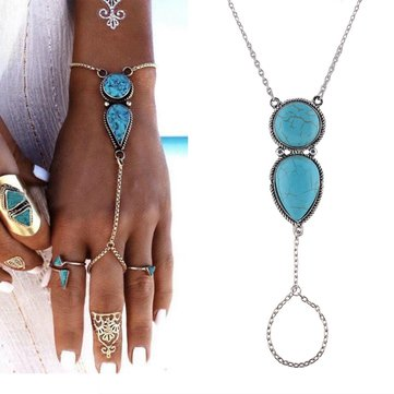 Bohemian Chain Bracelet with Finger