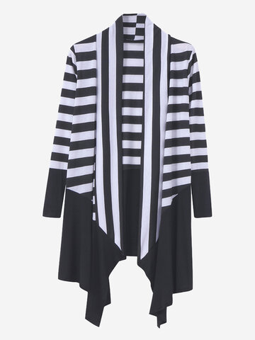Women Casual Stripe Irregular Hem Cotton Cardigans