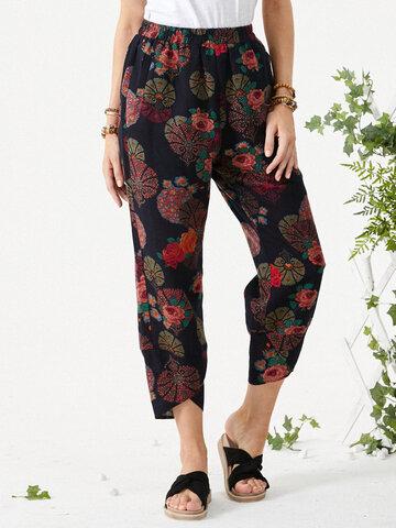 Flower Print Pockets Casual Pants