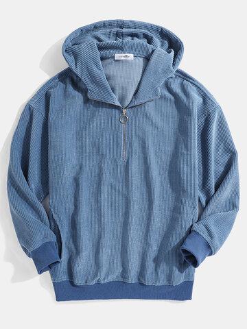Corduroy Zipper Front Hoodies