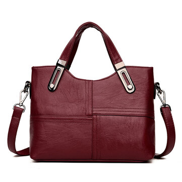 Women Stitching Handbag Soft Leather Leisure Crossbody Bag