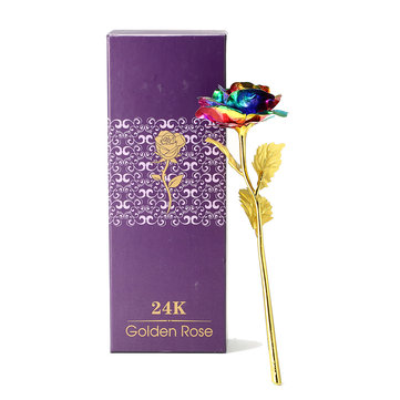 24K Colorful Gold Rose Flower Golden Dipped With Box