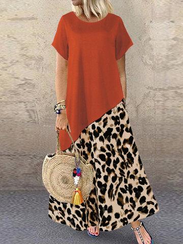 Leopard Print Patchwork Dress