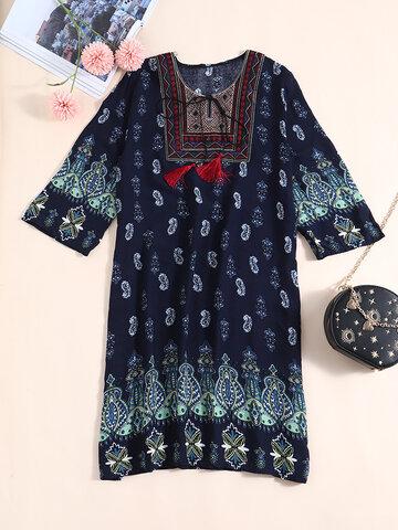 Tribal Pattern Tie Front Dress