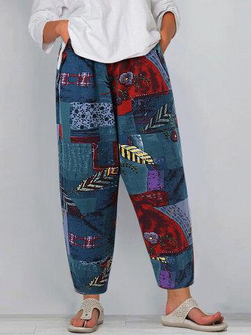 Vintage Print Loose Pants