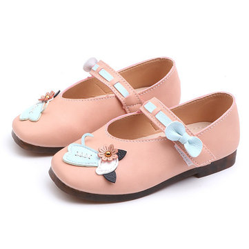 Girls Cartoon Bowknot Mary Jane Shoes