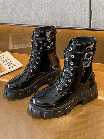 Buckle Design Glossy Black PU Boots