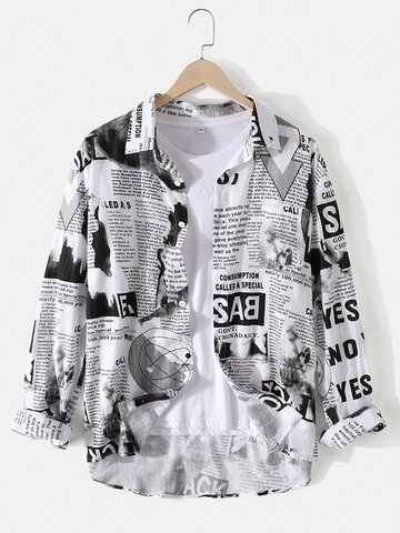 Cotton Newspaper Print Shirts