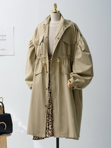 Solid Color Trench Coat фото