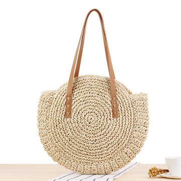 Women Leisure Straw Bag Woven Beach Bag Shoulder Bag