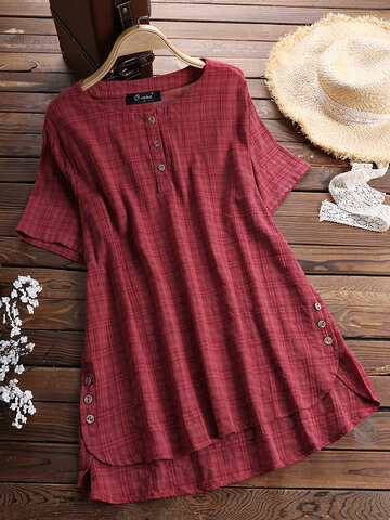 Casual Plaid Short Sleeve Irregular T-Shirt