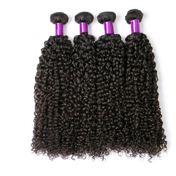 1 Bundle Brazilian Kinky Curly Virgin Human Hair Weaving Natural Color
