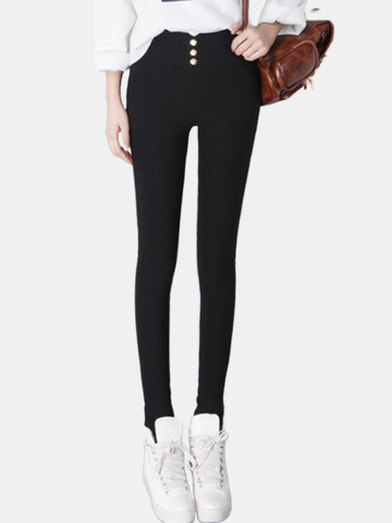 High Waist Padded Plus Velvet Pencil Leggings Pants