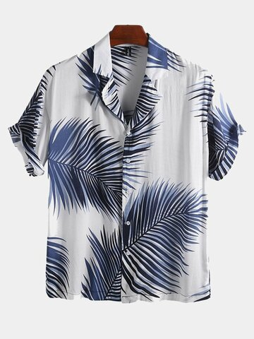 Vocation Loose Hawaiian Palms Print Shirts