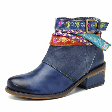SOCOFY Friday Splicing Handmade Weaving Strap Ankle Leather Boots