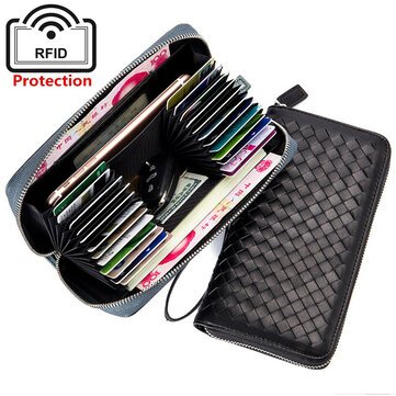 RFID Antimagnetic Genuine Leather 24 Card Slots Wallet