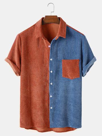 Designer Corduroy Patchwork Casual Shirts