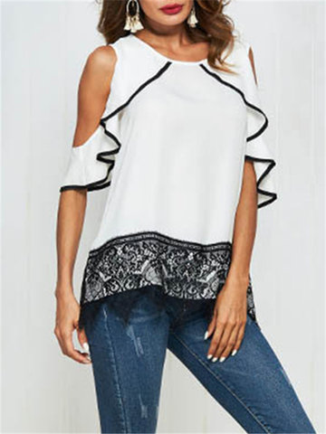 Lace Patchwork White Shirts
