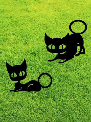 1PC अभिनव एक्रिलिक सिमुलेशन कार्टून बिल्ली आउटडोर उद्यान सजावट कार्ड कला खोखले सजावट शिल्प होम यार्ड गहने डालें
