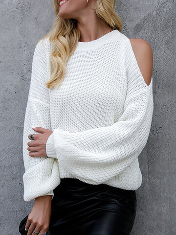Solid Dropped Shoulders Hollow Sweater