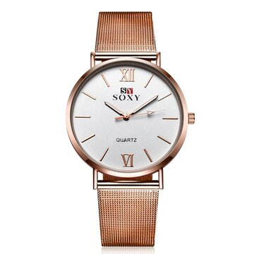 Montre en cuir SOXY Montre Simple en alliage Rose Montre Femme en or