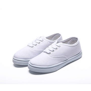 Boys Girls Canvas Lace Up Casual Shoes