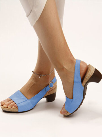 Brief Casual Slingback Heeled Sandals