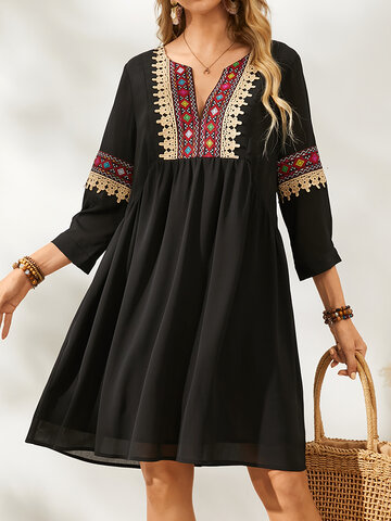 Solid Color Ethnic Ribbon Dress