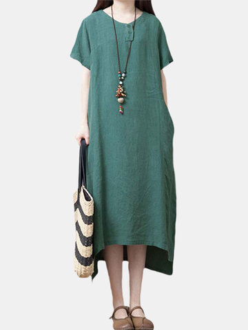 Solid Cotton And Linen Dress