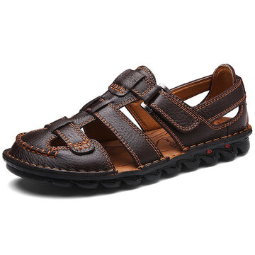 Men Genuine Leather Hand Stitching Sandals