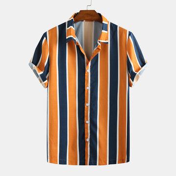 Mens Hit Farbe Streifen bedruckte Shirts