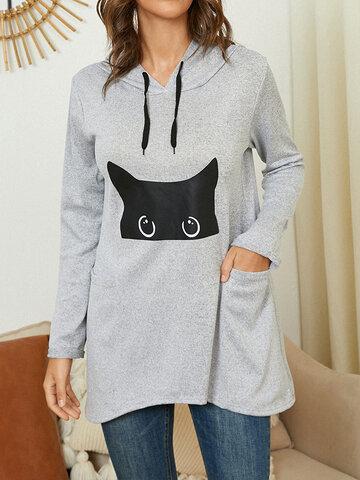 Cartoon Cat Print Pocket Hoodie