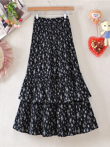 Floral Print Pleated Ruffle Layered Skirt