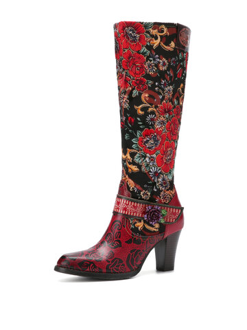 Socofy Floral Embroidery Leather Heel Knee Boots