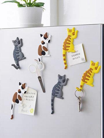 1 पीसी कार्टून बिल्ली पशु चुंबकीय घर बेबी फ्रिज चुंबक सजावटी रेफ्रिजरेटर संदेश भंडारण आपूर्ति