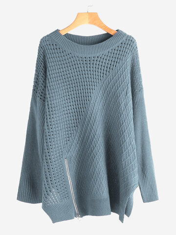 Crew Neck Solid Color Sweaters фото