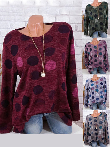 Polka Dots Casual O-neck T-shirts, Green grey pink coffee wine red