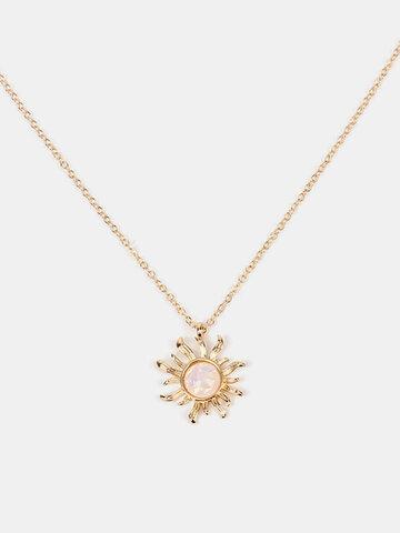 Fashion Sun Opal Pendant Necklaces