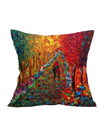 1Pcs Vintage Tree Scenery Pattern Cushion Cover Home Decorative Pillow Cushion Without Filling