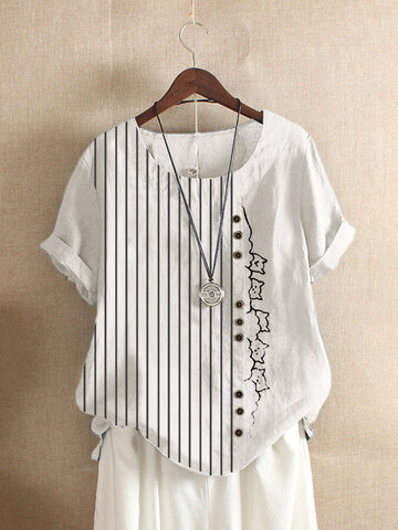 T-shirt O-Collo con stampa fumetto a righe