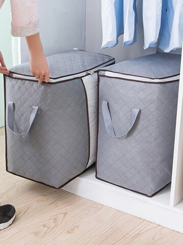 <US Instock> High Capacity Clothes Quilts Storage Bag Folding Organizer Bags Bamboo Portable Storage Container-Blue