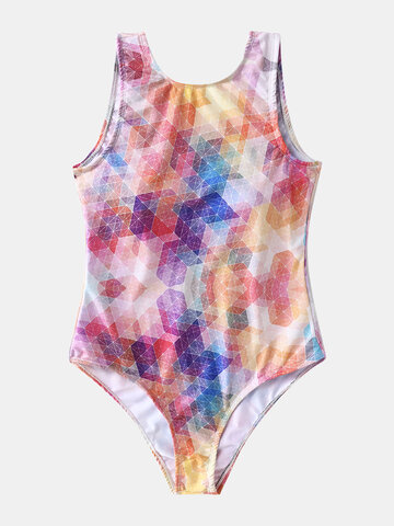 Plus Size Colorful Geometric Swimsuits