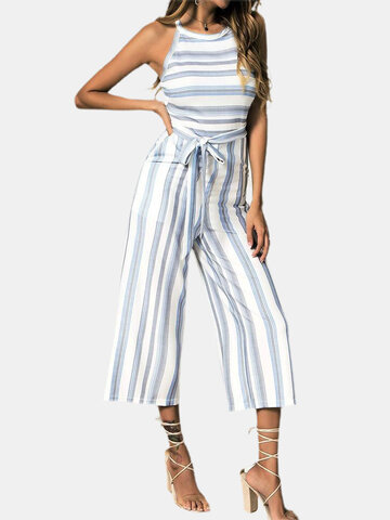 Color Contrast Striped Print Knotted Jumpsuit