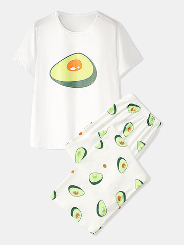 Avocado Print Modal Pajamas Set