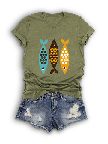 Cartoon Fish Printed T-shirt