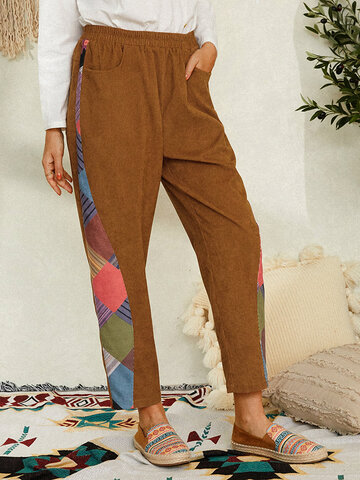 Solid Color Patchwork Casual Pant